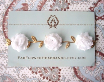 Newborn Gold Leaf Headband with White Flowers - Baby Gold Leaf Headband with White Flowers - Baby Headband - Newborn Headband - Grecian