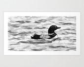 Ink Painting - Common Loon Sumi-e  - Wildlife Japanese Brush Painting - Bird Art Print