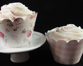 Roses and Plaid Cupcake Wrappers