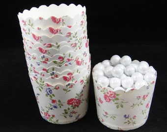 Pretty Rose Print Baking Cups, Candy Cups, Dip Cups, Nut Cups, Weddings, Party Cups, Candy Buffets, Wedding Cupcakes, Favor Cups, QTY 12
