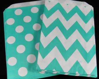 Aqua Favor Bags, Candy Buffet Bags, Candy Bags, Bakery Bags, Paper Bags, Birthday Parties, Packaging, Baking Supply, Wedding - Qty 12
