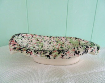 Mid Century Ash Tray Pink Green & Black Spatter Sponged Philadelphia PA 1950s PLYMOUTH American Art Pottery