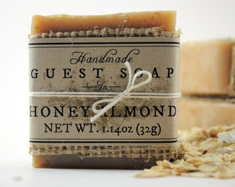 Honey Almond Guest Soaps - Set of 3, Small Rustic Shabby Burlap Soaps