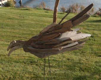 Coastal Shores Rustic Driftwood Seagull
