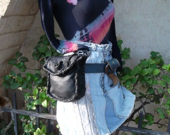 Hand Laced Black Deerskin fully lined in black Leather Large Belt Pouch Small/ Meduim Clutch Bag