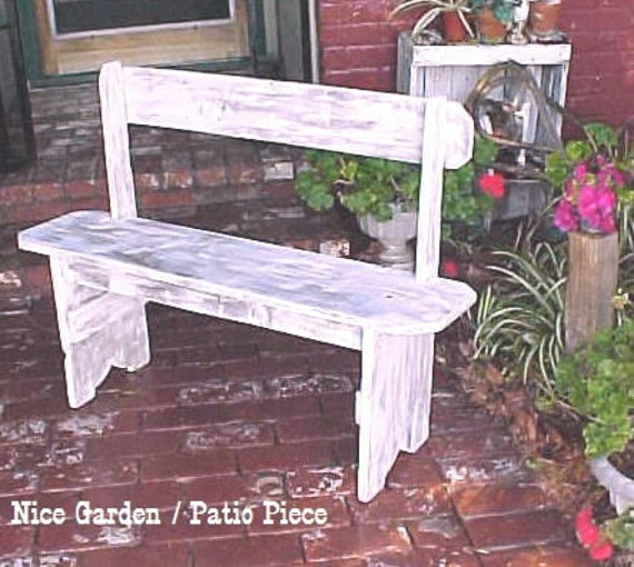 BENCH, ON SALE! ~ Country Primitive, Distressed WHiTE, Rustic Bench, Porch Bench, Mud Room Bench, Outdoor Furniture, Patio Bench, Pool Bench
