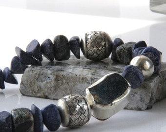 Antique Shard, Lapis lazuli nuggets, origami silver asymmetric necklace