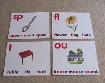 "Old School Flash Card Print - Vowels Consonants 8"" x 11"" - Your Choice - spoon - flower - table - house"