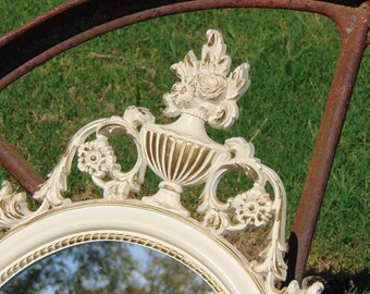 FRENCH Provinical Ornate Oval Mirror, Shown in the Original Cream and Gold Color or Choose a Color, Size 31 x 16