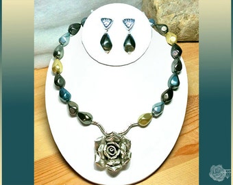 """19"""" Necklace Gray Champagne Blue AAA South Sea Shell Pearls Hill Tribe Fine Silver Rose Centerpiece And/Or Matching Fancy AAA Post Earrings"""