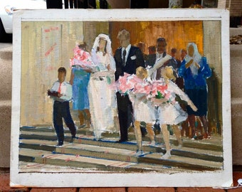 Wedding March impressionist oil sketch. Probably Russian 1970's