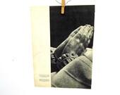 1950s Praying Hands Print, Mid Century French Magazine, 1950s Paper Ephemera, L'Illustration