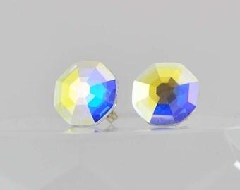 Octagon Swarovski Crystal Earrings, Solaris Design, Areola Borealis Stud Earrings, AB Swarovski Post Earrings, Sterling Silver Earrings