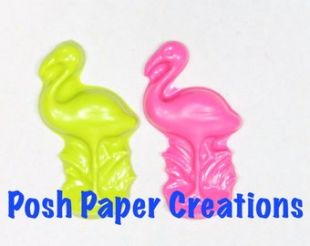 6 Flamingo crayons - in cello bag tied with ribbon - choose your colors