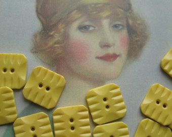Vintage Yellow Square Buttons...new old stock...1940...Carved Bakelite-Look-a-likes..lot of 12
