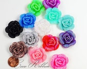 32mm 12/24/48 pcs Faux Rhinestone Flower Rose AB Color Flatback Resin Cabochons  - 14 Colors