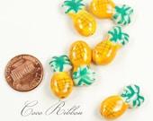 12/24/50pcs 22x12mm Porcelain Ceramic Pineapple Beads - Handpainted