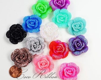32mm 12/24/48 pcs Faux Rhinestone Flower Rose AB Color Flatback Resin Cabochons  - 14 Colors C25