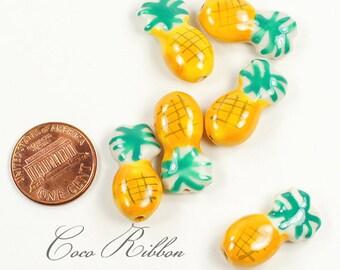 12/24/50pcs 22x12mm Porcelain Ceramic Pineapple Beads - Handpainted C16