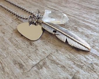 Music Festival Jewelry, Men's Guitar Pick Necklace, Stainless Steel Jewelry, Musician Necklace, Guitarist Necklace