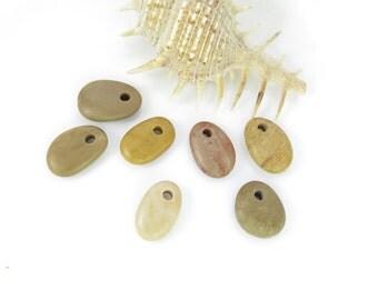 Top Drilled Medium Beach Stones, Set of 7 pcs Organic Beads, DIY Rare Pebbles,Eco friendly stones for Jewelry Design