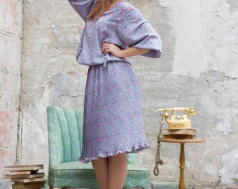 Vintage Soft Lavender Diane Freis Fortuny Floral  Dress