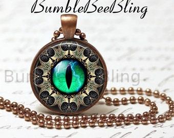 Eye Pendant Necklace - Antique Copper Bezel Art Pendant - Steampunk Eye Jewelry - Eye Necklace