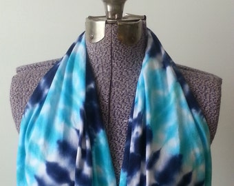 Tie Dye Infinity Scarf -- Navy and Parakeet Blue