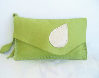 lime green  leather clutch, wristlet, hip belt bag, cosmetic bag with cream leaf  by Tuscada. Ready to ship.