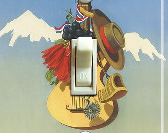 CHILE Vintage Travel Poster Switch Plate (single)  ***FREE SHIPPING***