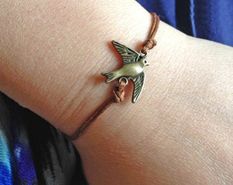 Delicate Bracelet, Thin Bracelet, Antique Bronze Mini Bird Charm Bracelet, Cute Bracelet