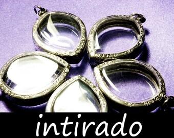 Terrarium Necklace Kit, Shadow Box Pendant Blanks, Antiqued, Engraved, Clear Locket, Amulet Locket Case, Reliquary, Art and Craft, 5pcs