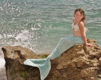 Mermaid Tail Crocheted Newborn to Child Size 12 Photo Prop Cocoon Costume Yummy Seafoam