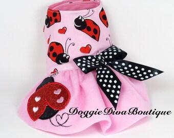 Dog Dress - Ladybugs and Hearts - Lady Bug embroidery - Medium