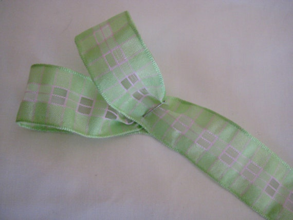 "Apple Blossom Green Plaid Ribbon. 1"" wide. Sold by the metre"
