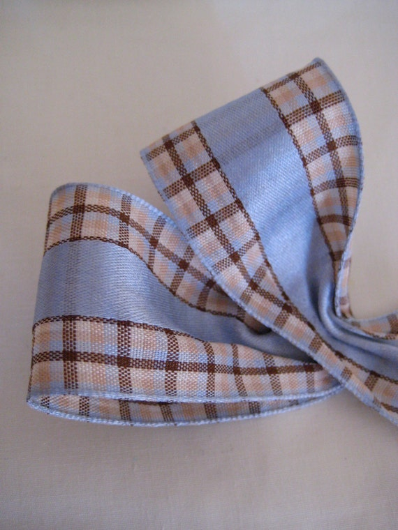 """French Blue/Brown Plaid Ribbon. 1.5""""/ 4 cm wide. Sold by the metre"""