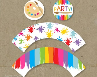 Art Party, Art Birthday Party, Art Party Cupcake Toppers, Painting Party, Painting Party Cupcake Toppers, Painting Birthday Party, Cupcake