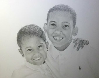 Custom Portrait Drawing  From Your Photo - 11x14 Original Family Child Children Pencil Sketch Art From your Picture