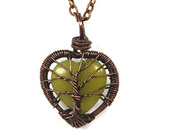 Baby Tree Love. A Heart Shaped Jade Stone Tree of Life Necklace in Antique Copper.