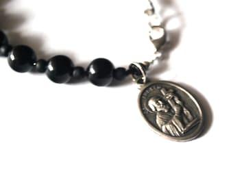 St Andrew Mens Rosary Bracelet Black Onyx Tigers Eye Turquoise Patron Saint Andrew Bracelet Male confirmation Gift Catholic Stone Bracelet.