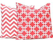 Coral Pillow Covers - Coral Cushion Covers - 18 x 18 Pillow Covers - Coral Chevron Pillow Covers - Pair of Two Pillow Covers