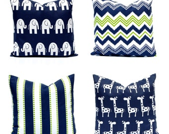 Navy Blue Pillow Cover - Navy and Lime Green - Navy Blue Nursery Pillow Covers - Blue Cushion Covers - Blue Nursery Decor - Nursery Animal