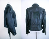 SALE!!! 1980's Fringed Leather Motorcycle Jacket - Size Med/Large