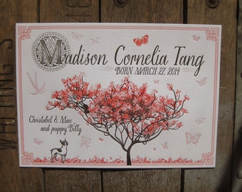 Spring Time Cherry Blossom Letterpress Birth Announcement