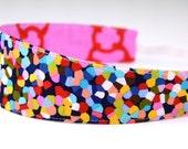 Reversible Headband- Children Toddler Colorful Mod Rainbow Confetti