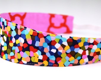 Reversible Headband- Children Toddler Colorful Mod Rainbow Confetti