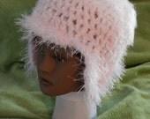 WOMAN'S HAT hand crochet pink w earflaps soft fluffy cloche beanie kufi