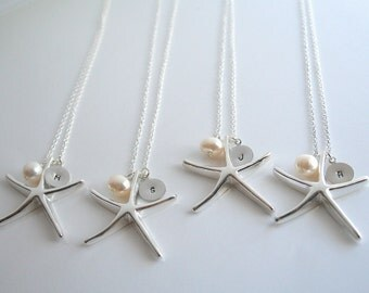 Set of 4 bridesmaid gifts, 10% off - STARFISH & INITIAL Necklace