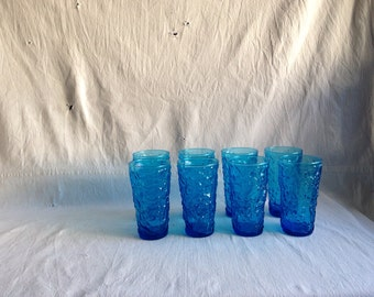 Vintage Lido blue glasses  1960 barware  mid century bar