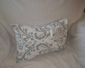 Damask Print, Grey and White, 12x18 Lumbar Pillow, Ready to Ship, By Sew Custom Designs
